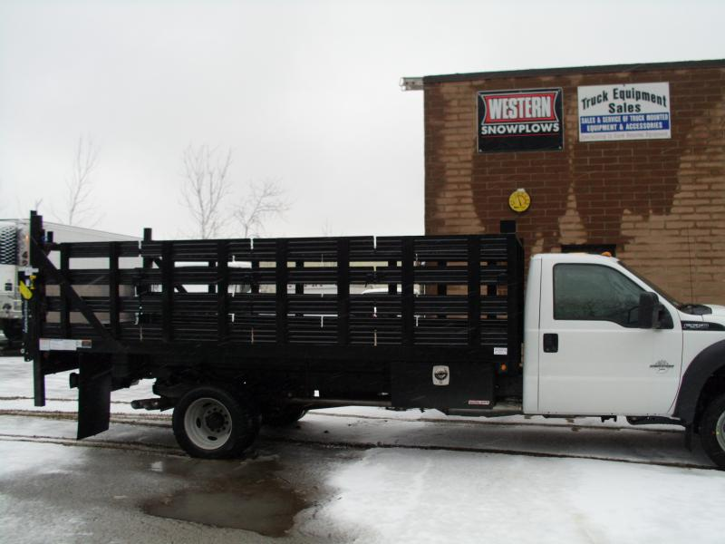 16' Stake Body W/ Toolbox, Liftgate, & Ladder Rack